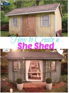 Plans to Build a shed on a weekend - This for the lake. Build a Shed on a Weekend - Our plans include complete step-by-step details. If you are a first time builder trying to figure out how to build a shed, you are in the right place! Craft Shed, Storage Shed Plans, Diy Storage, Woman Cave, Girl Cave, Babe Cave, She Sheds, Shed Design, Design Design