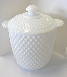 white hobnail cookie jar - my mom got this as a wedding gift in '56.
