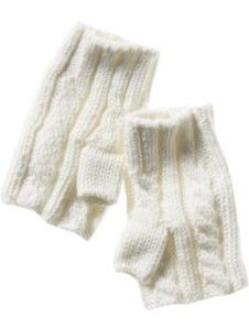 Fingerless cable knit gloves Fingerless styling, ribbed trim at wrists. * 100% Acrylic.