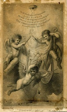 Frontispiece to 'The Freemason's Magazine', with three cherubs, two holding a sheet emblazoned with masonic symbols of compass and dagger between them and holding the wicks of two candles together, the third hovering below, with a pendulum and a hammer in one hand and a quill pen, trowel and compass in the other, a crescent moon and stars below and an eye with glory above; after Mather Brown. 1793 Etching and stipple