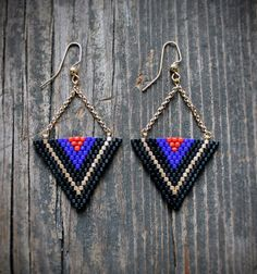 Items similar to Triangle Beaded Drop Earrings on Etsy