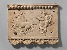 Terracotta plaque with King Oinomaos and his charioteer, 27 B.C. - A.D. 68, Roman (Augustan or Julio-Claudian era), Metropolitan Museum of Art, New York