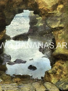 #328 OCEAN GROTTO CAMPBELL PARK, AUSTRALIA Limited edition of ten 18x24 prints. $185.00 Painting by Two Bananas Art artist Richard Neuman. Inspired by a photo he took in Southern Australia. Each giclee print is digitally signed, dated, numbered, with a certificate of authenticity. Your gallery wrapped, stretched canvas print is ready to hang. SHIPPED FREE! #art #architecture #colorful #semi #abstract #australia #seascape #print