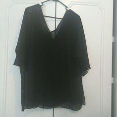 Sheer Black Vneck Blouse Sheer black vneck bouse, fits beautifully and comfortably Venezia Tops Blouses