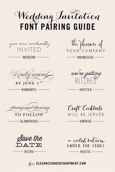 Wedding Invitation Font and Pairing Guide from Elegance and Enchantment // Great combinations of script and serif/sans serif typography for any style! fonts and calligraphy Wedding Invitation Font Pairing Guide Create Wedding Invitations, Wedding Invitation Fonts, Vintage Wedding Invitations, Rustic Invitations, Typography Invitation, Wedding Fonts Free, Wedding Stationery, Party Invitations, Cricut Invitations
