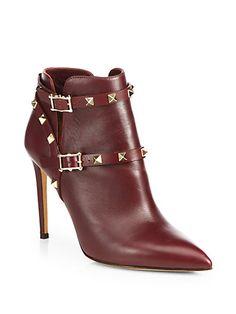Valentino - Rockstud Leather Ankle Boots - Saks.com