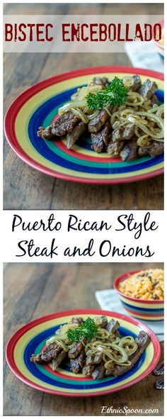 Puerto Rican style bistec encebollado or steak and onions with bold spices and an nice sear. Que Rico!   ethnicspoon.com