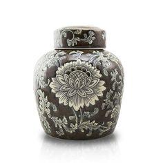 Lotus Ceramic Cremation Urn - Brown