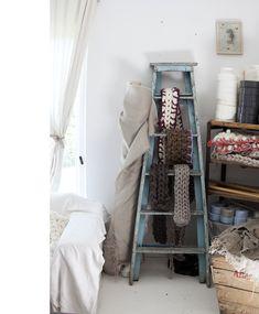 ~ scarves displayed on distressed studio ladder ~