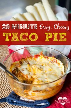 Easy Baked Tex-Mex Taco Pie recipe! This reminds me of the Old El Paso Taco Bake kit that you can buy in the grocery store, but this recipe, of course, is much much better! And what I especially love is that you can make it low carb, by leaving out the tortillas and only using a little salsa rather than the whole jar! Add this to your easy dinner recipes!