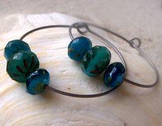 Hypoallergenic Earrings for Sensitive Ears, Pure Titanium Earrings, Ocean Blue Glass, Hoop Titanium Earrings by mompotter on Etsy