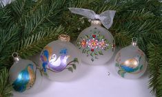 Christmas - Christmas Ornament - Handmade Hand painted Ornaments - Xmas Bird Ornaments