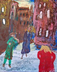 "Saatchi Online Artist: David Kontra; Acrylic, Painting ""Cambridge Courtyard"" medium"
