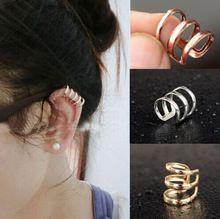 2015 moda sterling Silver PUNK oído de la joyería del Clip Cuff Wrap pendientes bijoux brincos joyería de plata de plata(China (Mainland))