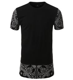 Available at WWW.SMITHJAY.COM | FREE SHIPPING OVER 50 | #Paisley Contrast Color Block #Longline T-shirt - #HipHop CLOTHING