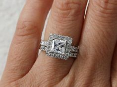 Wedding Ring set Sterling silver engagement ring by PescaraJewelry