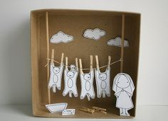 Washing cats diorama! :D by cara carmina