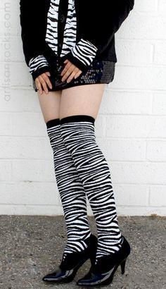 RocknSocks Zebra Print Over the Knees