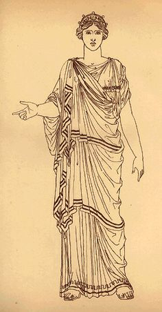 Note she's wearing a chiton, a peplos, and a diplax over everything.