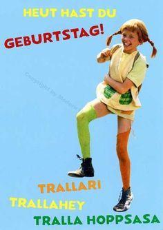 Postkarte Pippi Langstrumpf – Heute hast Du Geburtstag! Trallari Trallahey Tralla Hopsasa Postkarten Geburtstag