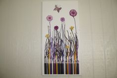 Melted Crayon Art Purple Flowers by jcblough on Etsy, $40.00
