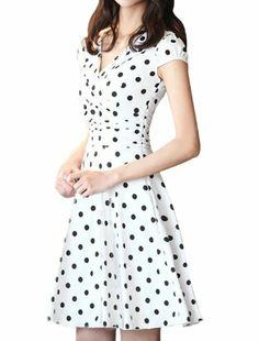 Just Handbags: DRESSES: Allegra K Women's Crossover V-Neck Cap Sleeve Pleated Chiffon Dress