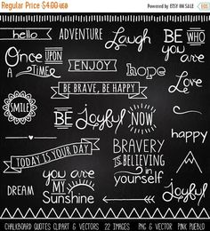 Chalkboard Quotes Clipart Clip Art, Chalk Board Words Clipart Clip Art Vectors - Commercial and Personal Use - Ideen rund ums Haus - Chalk Art Chalkboard Doodles, Blackboard Art, Chalkboard Writing, Chalkboard Lettering, Chalkboard Designs, Chalkboard Quotes, Chalk Fonts, Chalkboard Frames, Chalkboard Clipart