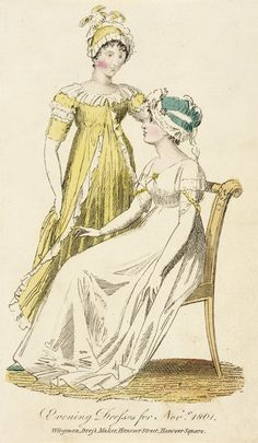 English fashion plates from and French fashion plates from Year 9 of the French Republican Calendar. All images come from the collection of the Bibliothèque des Arts Décoratifs. 1800s Fashion, 19th Century Fashion, Vintage Fashion, Regency Dress, Regency Era, English Fashion, French Fashion, Yellow Ballgown, Plate Drawing