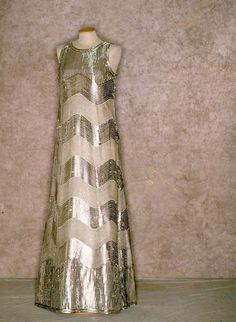 Sequined striped silver evening gown, ca. 1968. Tirelli Trappetti Foundation.
