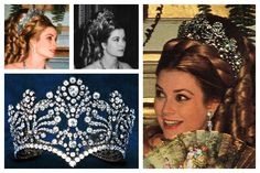 The Empress Joséphine Coronation Tiara: Photos (clockwise from top left): Princess Grace of Monaco; Princess Grace of Monaco; Princess Grace of Monaco; tiara detail