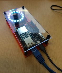 Internet Of Things NeoPixel. Web Service api to neopixel. The Arduino Yun has two network interfaces and can serve as an access point. You can control the neopixel through the local lan/wifi or thr… Electronics Projects, Arduino Projects, Electronics Gadgets, Electrical Projects, Iphone 5c, Projetos Raspberry Pi, Gadgets Électroniques, Electronic Gifts For Men, Electronic Workbench