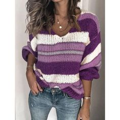 knitwear female Women knit clothes autumn winter V-Neck Pullover Sweater Tops Long Sleeve Loose Striped Colors Patchwork jumper Loose Knit Sweaters, Mohair Sweater, Casual Sweaters, Long Sweaters, Pullover Sweaters, Sweaters For Women, Knitting Sweaters, Leopard Pullover, Long Sleeve Sweater
