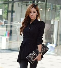Elegant Temperament Fold Hem Black Shirt (With Belt)