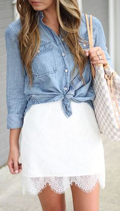 Chambray And White Lace Fall Inspo by For All Things Lovely