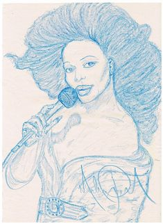 A drawing of Diana Ross in crayon. One of his idols. Signed by Michael Jackson. 15x11 inches.