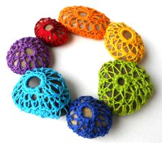 Set of 7 Crocheted Chakra Meditation Stones, crocheted stone ornaments on Etsy, $30.00