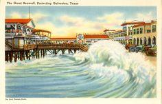 1940's postcard. Great Seawall protecting Galveston, TX