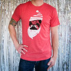 Bulldog Santa Unisex Tee Red now featured on Fab.
