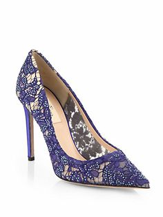 Valentino - Crystal-Coated Lace Pumps
