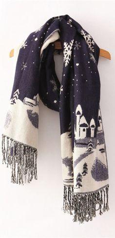 Winter wonderland snowflake scene scarf | navy