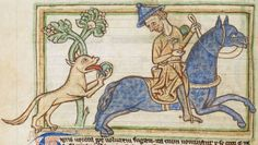Animal detail from medieval illuminated manuscript, British Library Harley MS Medieval Manuscript, Illuminated Manuscript, Bayeux Tapestry, British Library, Fantasy Creatures, Dragons, Ms, Miniatures, Detail