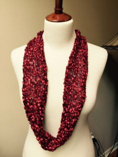 Deep Red Infinity Scarf by SisterCreationsLLP on Etsy