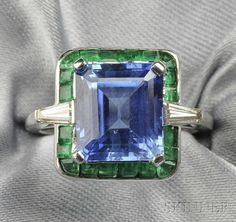 Platinum, Sapphire, Emerald, and Diamond Ring