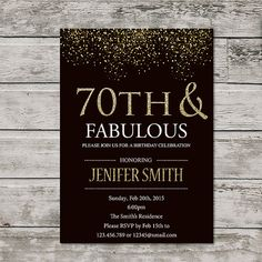 Hello!  This is Printable 70th Birthday Invitation For Women  I can change it to any age  !!!GIFT!!! - Thank Card (size 4x6 and 5x7)  ***Welcome to PartyDesignWithLove !***  This listing is for a DIGITAL FILE, hi-resolution jpg. You can choose between a 5x7, or let me know if you would like a different size for no additional cost.   <<< Attention!! >>>  When buying products on the cost of 7 dollars, you can choose any product as a gift!! A gift sent to you by email   ---- HOW TO ORDER…