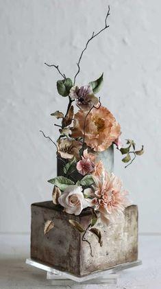 Wedding Cake Prices, Pretty Wedding Cakes, Square Wedding Cakes, Black Wedding Cakes, Unique Wedding Cakes, Wedding Cakes With Flowers, Wedding Cake Designs, Wedding Decor, Wedding Cake Centerpieces