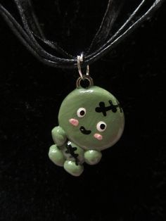 Cute Zombie Polymer Clay Charm Necklace.