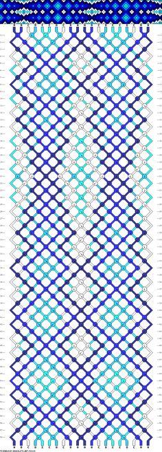 Friendship bracelet pattern - diamonds, squares, chevron, gradient, illusion - 20 strings - 5 colors