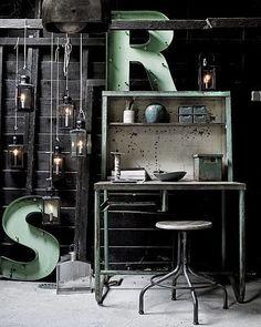 Pastel industrieel interieur mint groen industrial interior