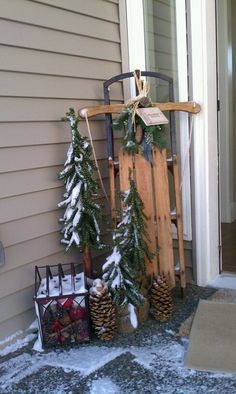 Christmas sled on my front porch! Christmas Sled, Christmas Planters, Primitive Christmas, Outdoor Christmas Decorations, Country Christmas, Winter Christmas, Christmas Time, Christmas Wreaths, Christmas Crafts