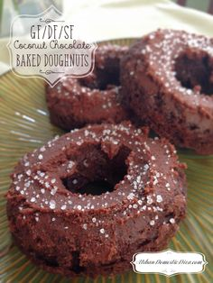The Urban Domestic Diva: RECIPES: GF/DF/SF Coconut Chocolate Baked Doughnuts (gluten free, dairy free, sugar free, but NOT taste free!) These doughnuts are a good way to enjoy a treat on FMD phase 3 or maintenance. http://www.urbandomesticdiva.com/2015/04/recipes-gfdfsf-coconut-chocolate-baked.html